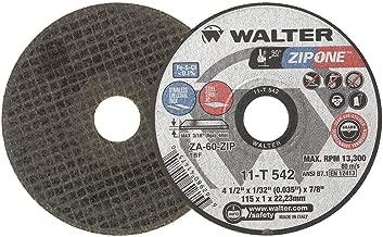 Walter Surface Technologies Walter ZIP One High Performance Cutoff Wheel, Round Hole, Zirconia Alumina, 41/2