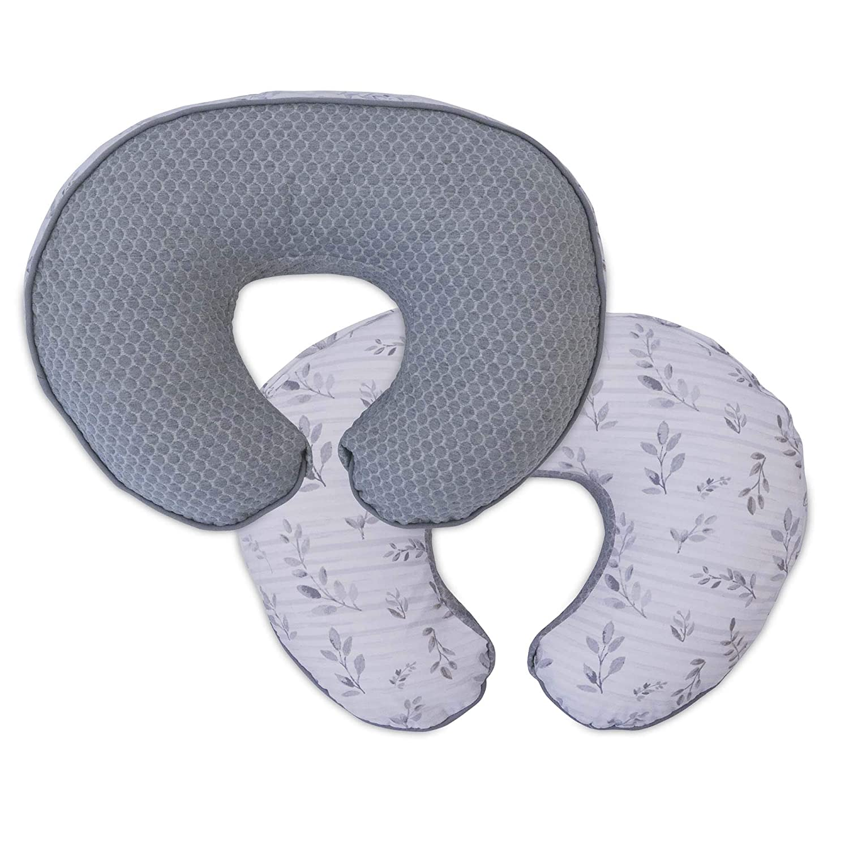 Boppy Luxe Nursing Pillow & Positioner, Gray Pennydot Leaf Stripe