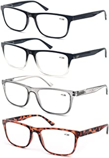 OLOMEE Reading Glasses 1.75 Oversize Large Square Men Readers 4 Pack,Comfort Lightweight Eyeglasses Flexible Spring Hinge