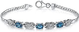 London Blue Topaz Bracelet Sterling Silver 1.75 Carats Oval Cut