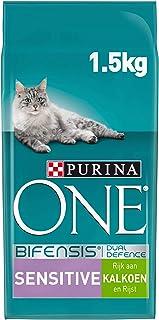 Purina ONE Sensitive Kattenvoer, Adult Kattenbrokken - Gevoelige Spijsvertering, met Kalkoen en Rijst, 1,5kg - Doos van 3...