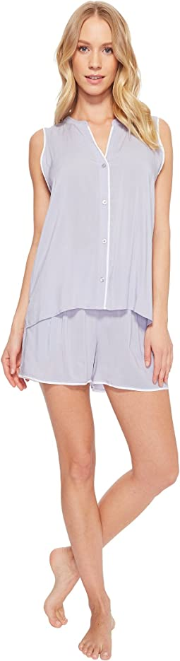 Donna Karan - Viscose Sleeveless Top & Boxer Pajama Set