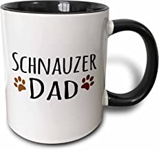 Saxton (mug_153977_4) Schnauzer Dog Dad - Doggie by breed - muddy brown paw prints - doggy lover - proud pet owner love - Two Tone Black Mug, 11oz