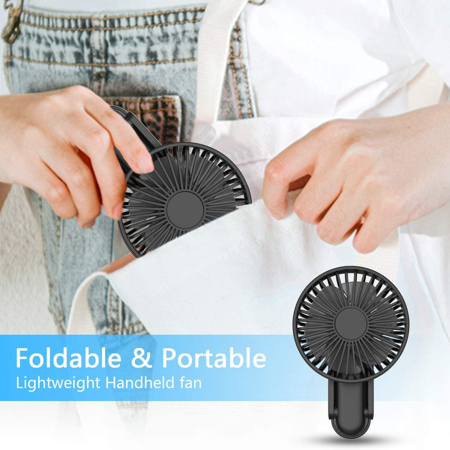 WOWGO Portable Handheld Fan - Mini Personal Fan 180° Rotating Adjustment, USB Rechargeable 2500mAh 3 Speed Hanging Personal Fan with USB output port for Home Office Indoor Use Outdoor Travel (black)