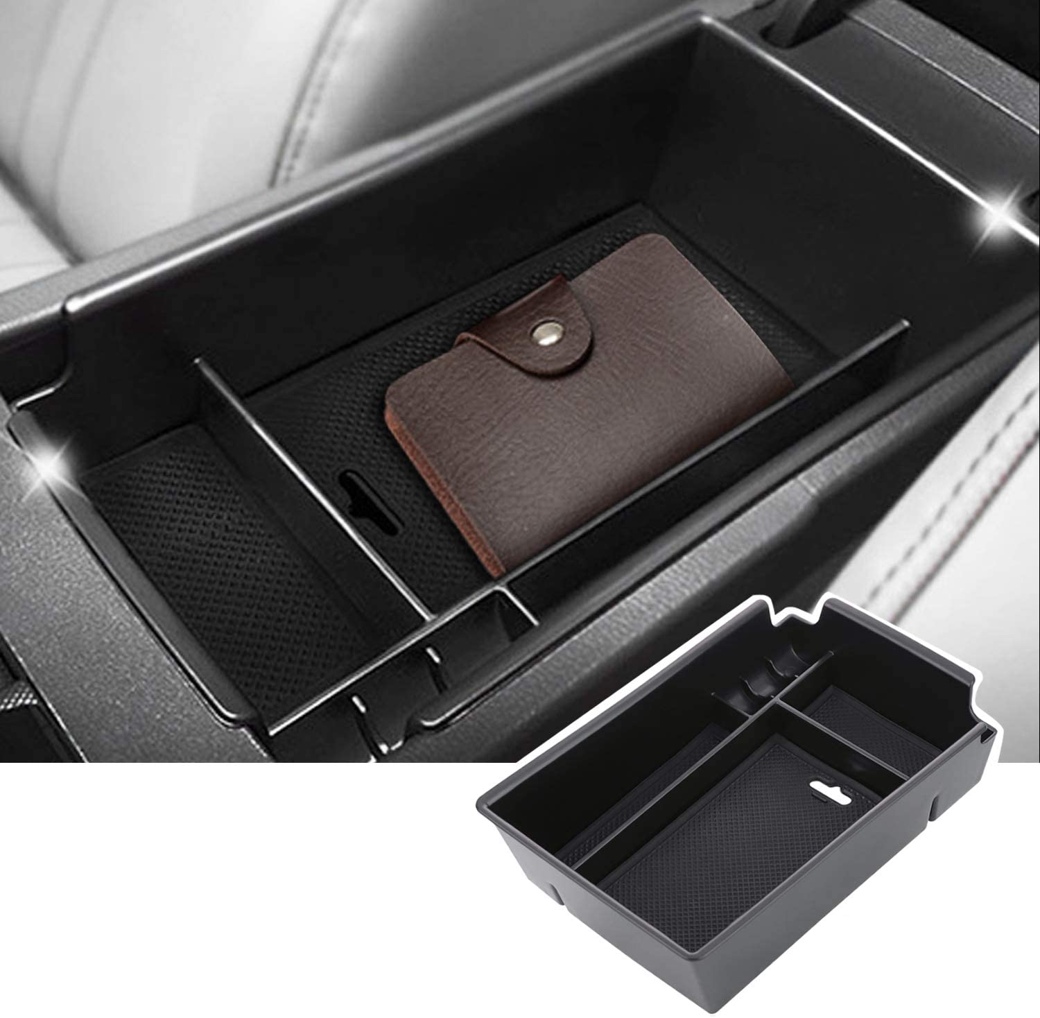 SKTU Center Console Organizer Compatible with 2020 2021 Sonata Accessories Insert ABS Black Materials Tray Armrest Secondary Storage Box with Coin and Glass Holder White