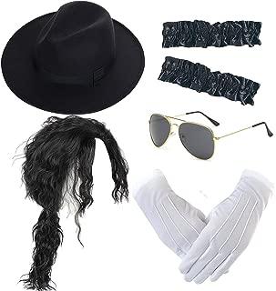 Michael Jackson Costume Accessory Kit - MJ Wig,Performance Fedora Hat,Sequin Glove,Armbands,Sunglasses