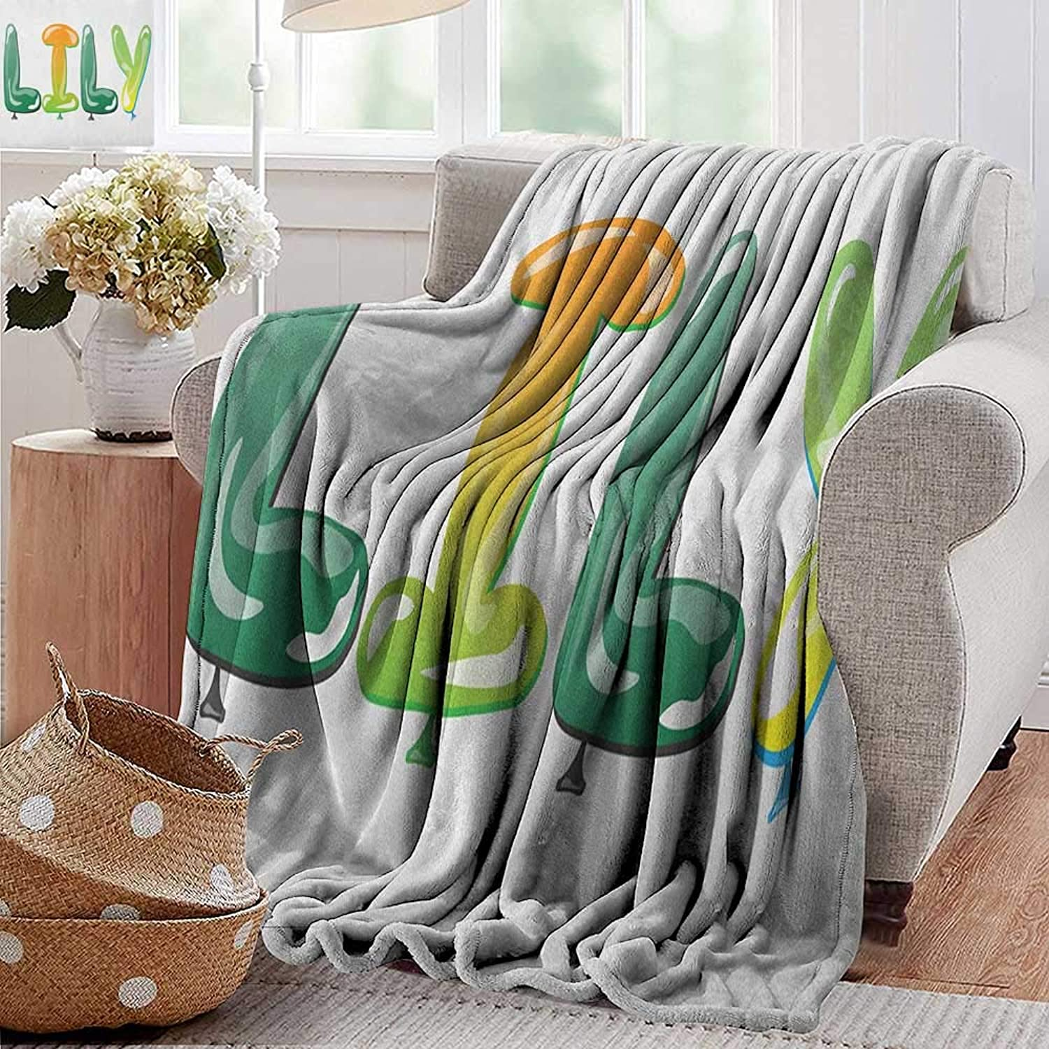 XavieraDoherty Travel Throw Blanket,Lily,colorful Popular Common English Girl Name Design with Balloons Party Festive Occasion, Multicolor,300GSM, Super Soft and Warm, Durable 50 x70