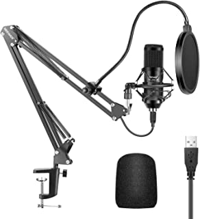 Neewer USB Microphone Kit, 192KHZ/24Bit Supercardioid Condenser Microphone with Boom Arm and Shock Mount for YouTube Vlogg...