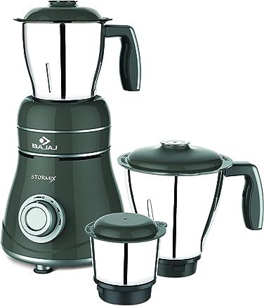Bajaj Stormix 750-Watt Mixer Grinder with 3 Jars (Black and Silver)