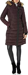 Nanette Lepore Women's Long Asymmetric Puffer Coat with Hood