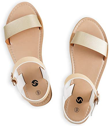 f95e6233472 Rekayla Flat Faux Leather Ankle Strap and Adjustable Buckle Sandals for  Women