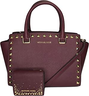 MICHAEL Michael Kors Selma Stud MD TZ Satchel bundled with Michael Kors Flap Card Holder Wallet