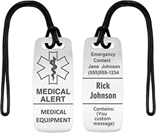 Deep Custom Laser Engraved Medical Alert Tag - Customized Engraved Info - Medical Equipment Luggage Tags - Respiratory (2 Pack) - Rubber Loops