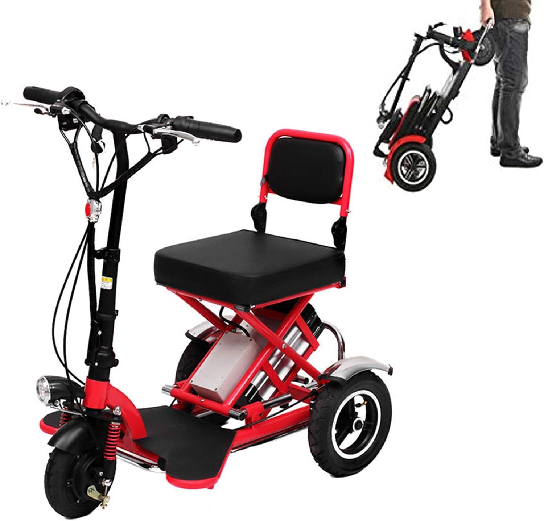 ZHHWYP Scooters eléctricos Plegable para Adultos, 3 Ruedas portátil Scooter con Motor de 350 W, batería de Litio de 48 V, 12 Ah, Rango de Crucero de 40 km y Pantalla HD, Carga máxima de 330 Libras