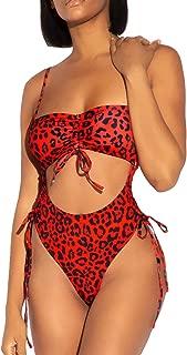 Womens Sexy High Waist One Piece Swimsuit Tummy Control Swimwear