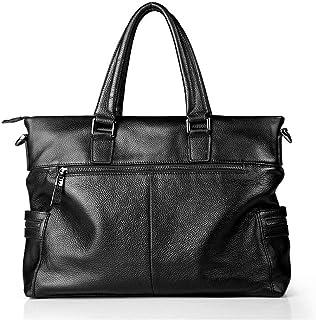 "Men's Accessories Men's Portable Leather Briefcase 14"" Laptop Netbook Shoulder Messenger Satchel Bag Organizer Black for Business Outdoor Recreation"