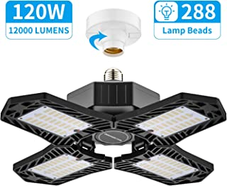 LED Garage Light, 120W 4 Leaf Ceiling Light with Adjustable Aluminum Panels, 12000Lm 6500K Deformable Nature Shop Light 360 Degree E26/E27 Base for Basement Barn Workshop Warehouse No Sensor