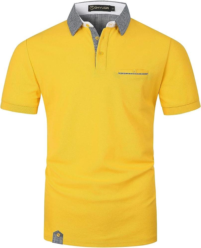 Ghyugr polo maglietta da uomo a maniche corte 100% cotone shenkaclothing0618