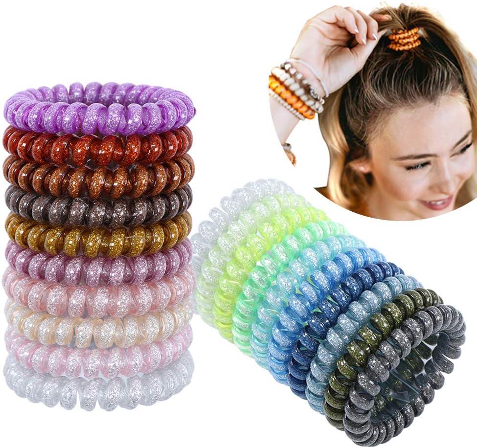 20pcs lazos de pelo en espiral lazos del pelo del cable del teléfono sin pliegue sostenedor del teléfono colorido elástico bobinas lazos para el cabello para mujeres niñas cola de caballo