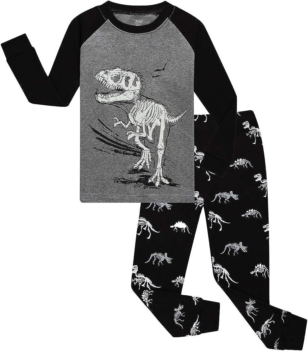 Joyond Cotton Pajamas for Boys Toddler Clothes Kids Snug-Fit Long Sleeve Pjs Pants Set(grey dino,6)