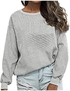 Comaba Womens Letter Printed Pullover Sweatshirt Corduroy Long Sleeve Tees
