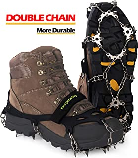 Sunzel Traction Cleats Portable Walk Spikes Crampons Upgraded Version of 19 Teeth Stainless Steel Spikes Durable Silicone Mountain//Snow Grips Ice Creepers