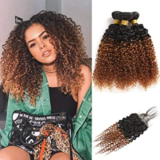 Feelgrace Hair Two Tone Ombre Brazilian Kinky Curly Hair Bundles with Closure 10A Grade 130% Density Virgin Human Hair Weave Bundles Ombre Jerry Curly 100% Human Hair #1B/30 Color 16 18 20 with 14