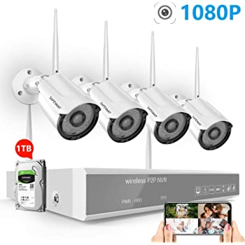2020 New 1080P Full HD Security Camera System Wireless with 1TB Hard Drive,SAFEVANT 8 Channel NVR Systems 4PCS 2MP Indoor Outdoor Home Surveillance Cameras with Night Vision Motion Detection