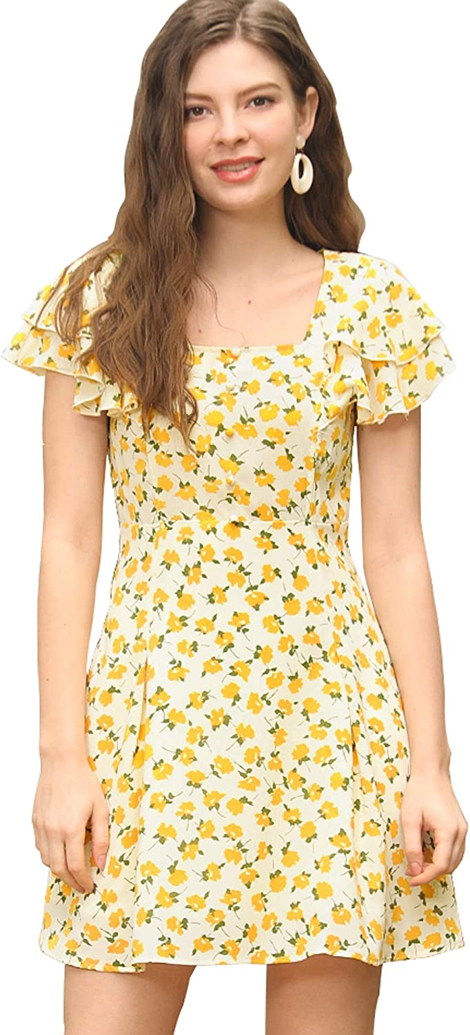 Allegra K Women's Ruffled-Sleeve Square Neck Pleated Front Floral Mini Dress