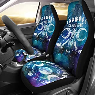 MoonChildWorld So Mote It Be Moon Phase Pentagram Pentacle Wicca Pagan Car Seat Covers (2Pcs) Universal Fit
