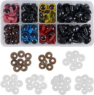 Ojos de seguridad para amigurumi mu/ñecas t/ítere(8mm) con arandelas con arandelas MIsha 100 Piezas Ojos de seguridad de pl/ástico para osos de peluche