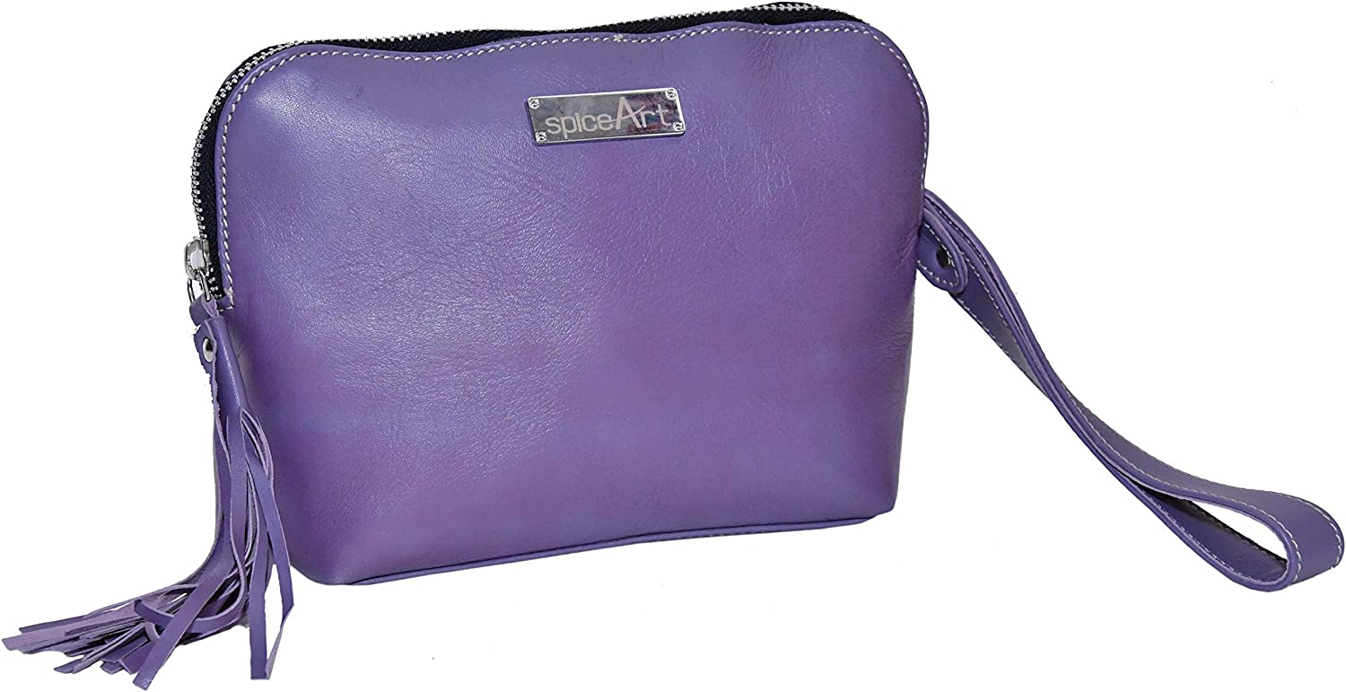 Spice Art Zippred Bag for Women in Purple color Pure Leather from