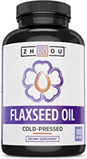Zhou Flaxseed Oil 1000 mg | Supports Heart Health and Healthy Hair, Skin & Nails | Essential Omega 3,6, 9 Fatty Acids | 10...