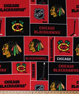 Fleece Chicago Blackhawks NHL Hockey Sports Team Fleece Fabric Print by The Yard (A605.20)
