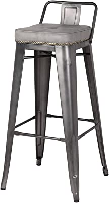 New Pacific Direct Metropolis PU Leather Low Back Bar, Set of 4 Bar & Counter Stools, Vintage Mist Gray