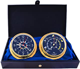 """MASTER-MARINER Blue Mariner Collection, Nautical Cabin Gift Set, 5.75"""" Diameter Clock and Barometer Instruments, Gold Finish, Blue Signal Flag dial"""