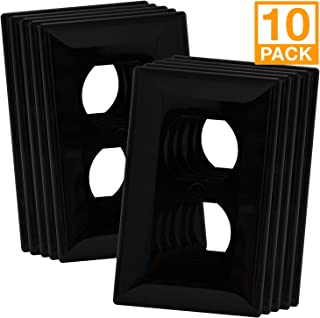 Enerlites Duplex Outlet Wall Plate, 1-4 Gang, Standard Size, Unbreakable Polycarbonate - White … (1 Gang, Black 1-Gang 10 Pack)