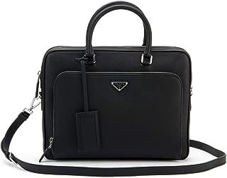 Prada Men's Saffiano Leather Cuir Briefcase With Strap (Black)