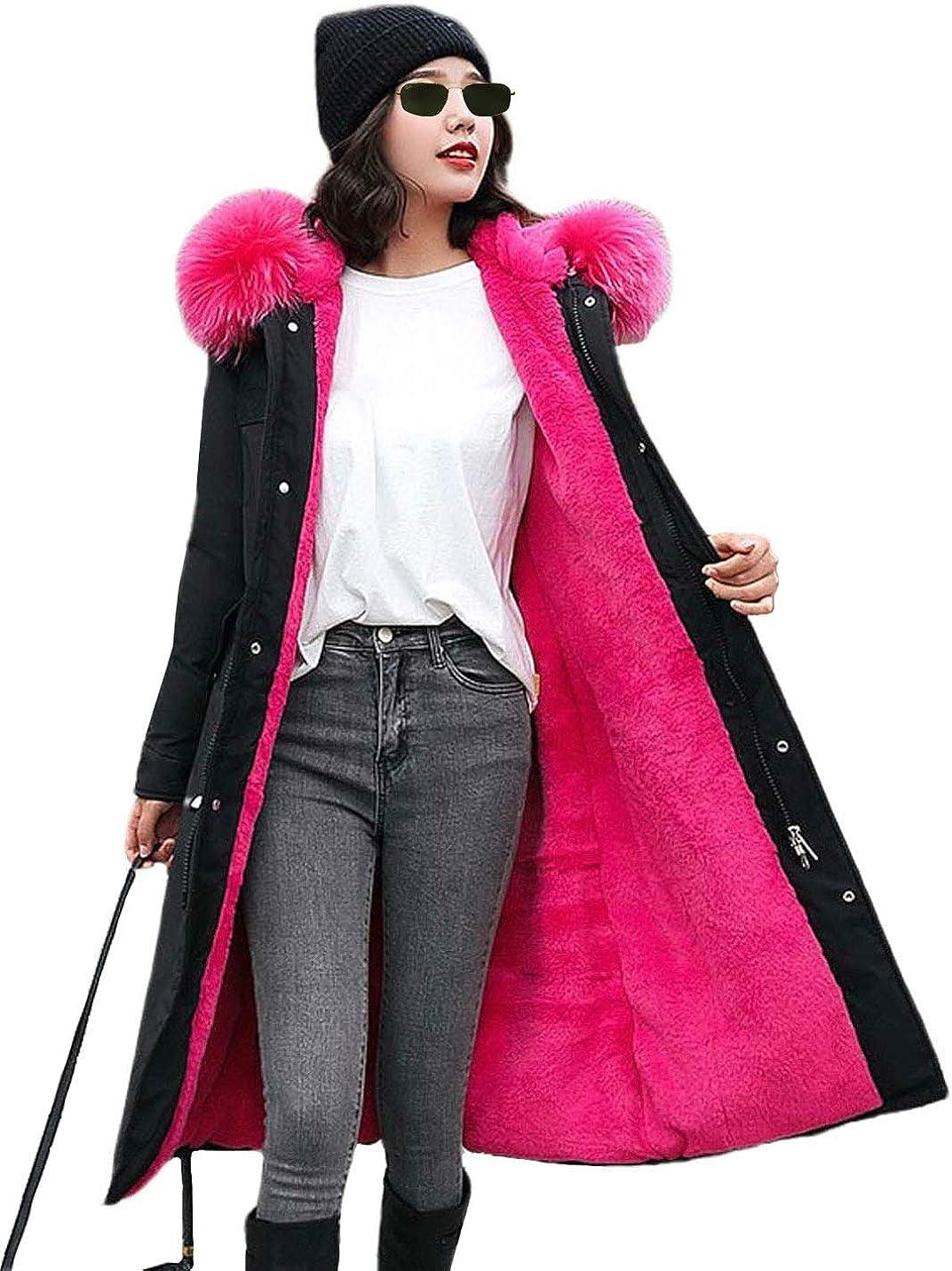 PUWEI Women's Loose Faux Fur Collar Long Fleece Lined Hooded Padded Jacket Parka