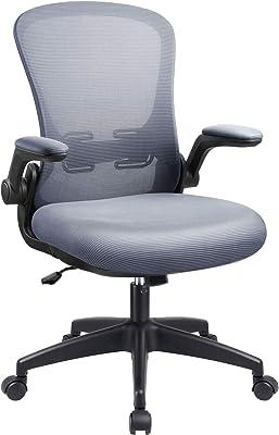 事務用椅子オフィスデスクミッドバックチェア、人間工学に基づいたメッシュの高さ調整可能な回転式タスクオフィスチェア、フリップアップアーム付き (グレー)