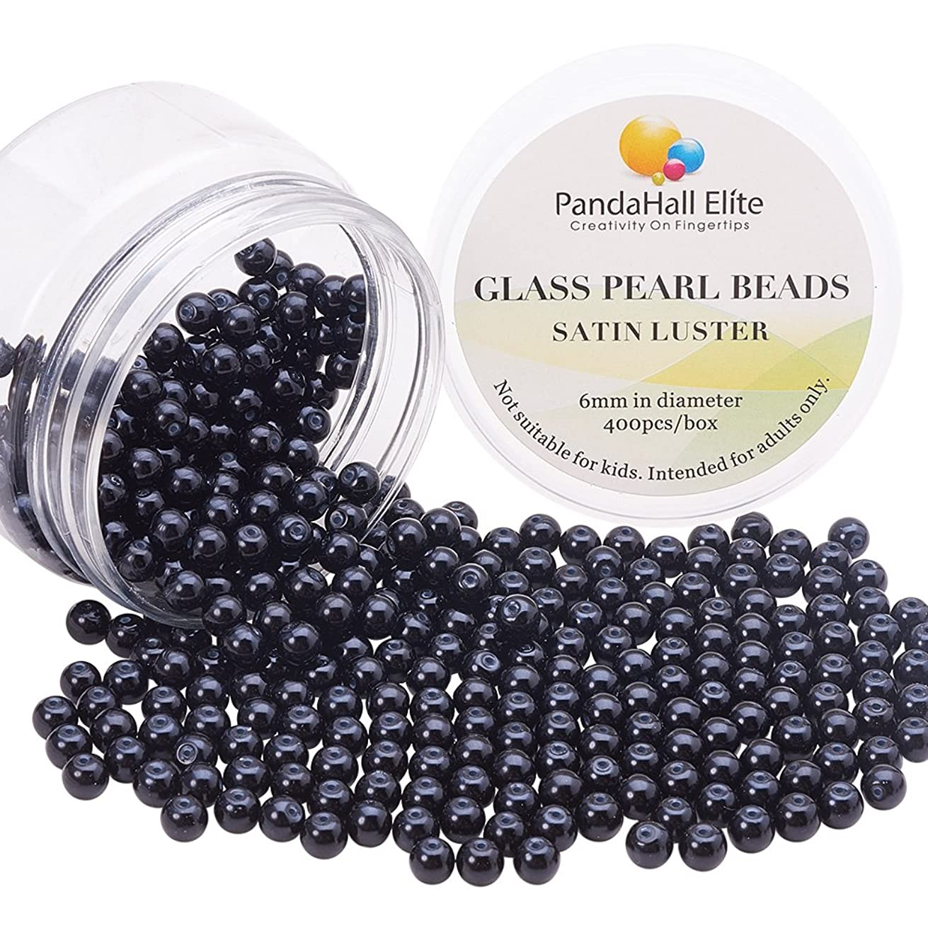 PandaHall Elite About 400 Pcs 6mm Tiny Satin Luster Glass Pearl Bead Round Loose Spacer Beads for Jewelry Making Black