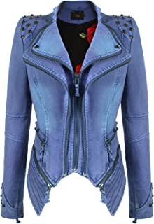 feb0cc1d21f chouyatou Women s Fashion Studded Perfectly Shaping Faux Leather Biker  Jacket