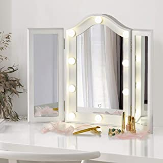 LUXFURNI Vanity Lighted Tri-fold Makeup Mirror with 10 Dimmable LED Blubs, Touch Control Lights Tabletop Hollywood Cosmeti...