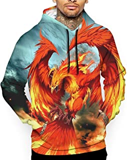 Beautiful Phoenix Bird Pattern 3D All Printed Hoodie with Pocket Casual Men's Hooded Sweatshirts