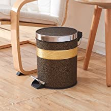 AINIYF 12 Liter Round Small Metal Step Trash Can Wastebasket, Garbage Container Bin - for Bathroom, Powder Room, Bedroom, ...