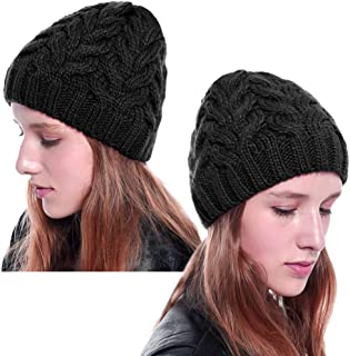 Lorfancy 2 Pack Winter Beanie Knit Hat Slouchy Cable Chunky Baggy Snow Hat Thick Soft Warm Skull Skip Cap for Women