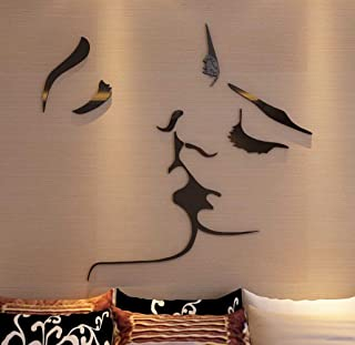 3D Kiss Wall Murals for Living Room Bedroom Sofa Backdrop Tv Wall Background, Originality Stickers Gift, DIY Wall Decal Wa...