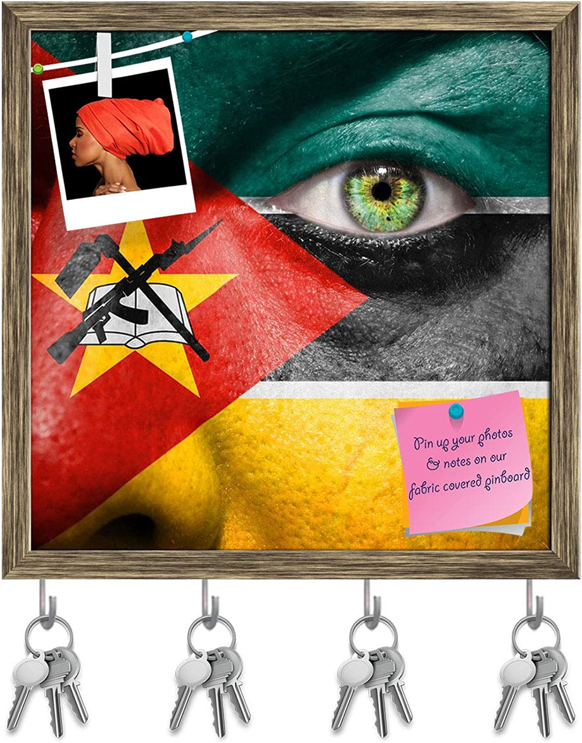 Artzfolio Mozambique Flag Painted On A Face Key Holder Hooks   Notice Pin Board   Antique golden Frame 20 X 20Inch