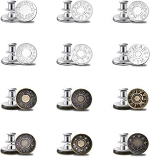 iRealy 12 Sets Combo No Sew Jean Buttons Pins, Adjustable Instant Buttons Replacement Kit Extend or Reduce Any Pants Wais...