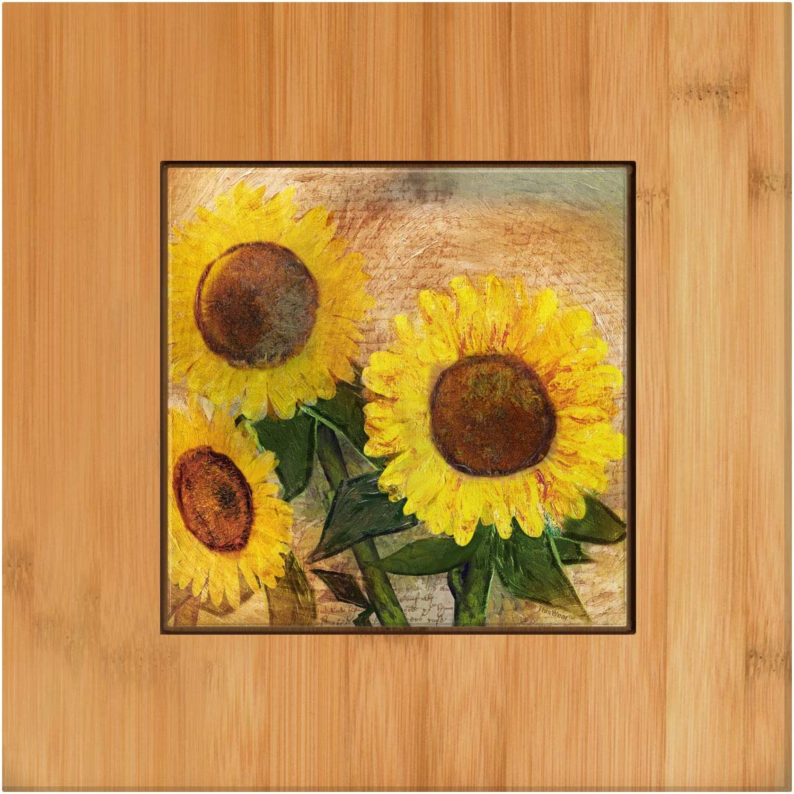 Amazon Com Rustic Farmhouse Decor Sunflower Kitchen Accessories Country Wedding Gifts Tile And Wood Trivet Dining